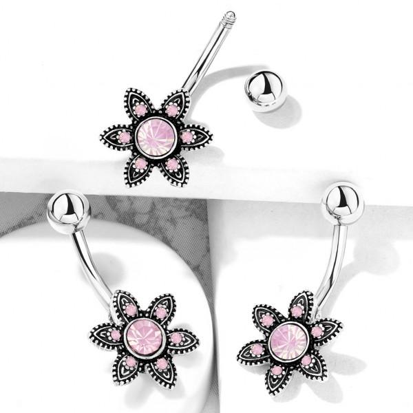Pink Opalstein Blume mit Kristall verziert Bauchnabelpiercing