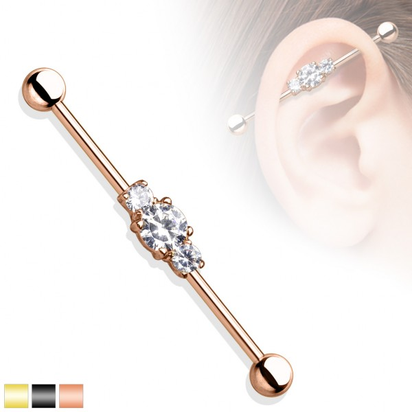 Gold Zirkonia Industrial Surface Bar Piercing