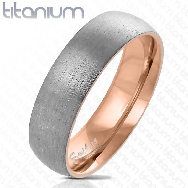 Ring zweitönig silber gebürstet rosegold Titan
