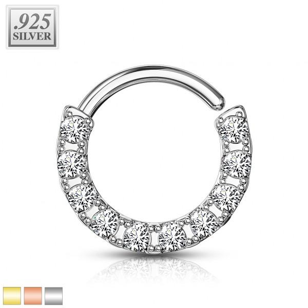 Zirkonia biegbarer Ring Hoop mit 10 Kristallen Sterling Silber 925
