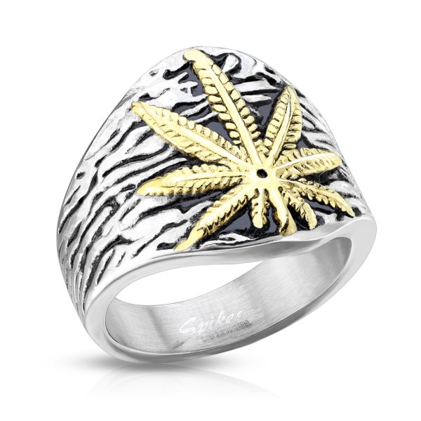 Ring Cannabis Pflanze gold Edelstahl Gussring