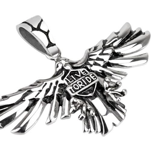 Rider Schild auf Adler Flügel Anhänger Silber Stahl