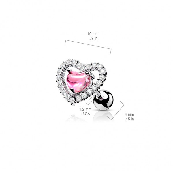 Herz Kristall klar und pink 316L Helix Barbell Stud Piercing
