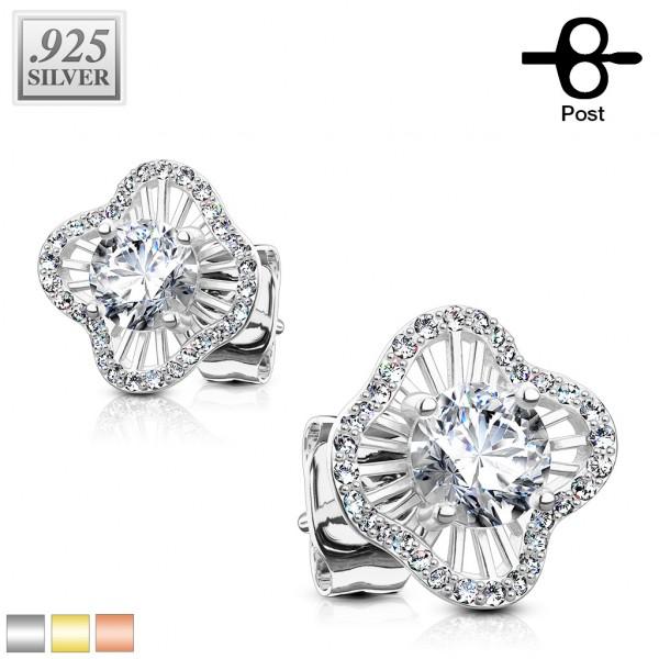 1 Paar Ohrringe Blume Zirkonia Stecker Silber 925.