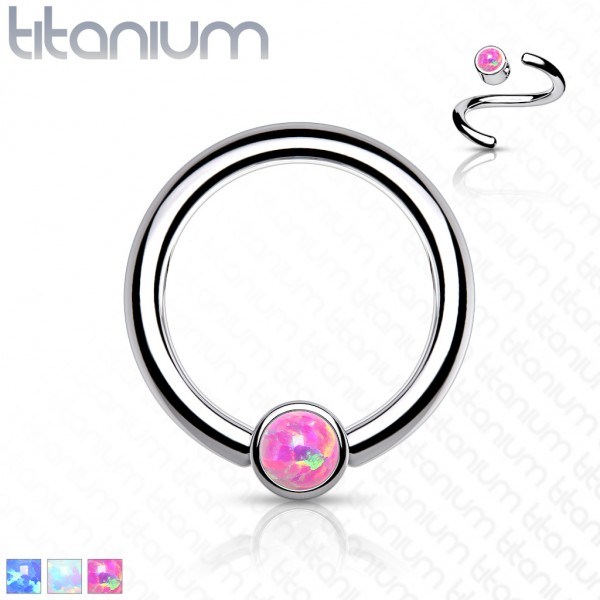 Titan Captive Bead Ring Bezel Opal Ball CBR Ring Helix Tragus Orbital