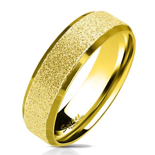 Ring Sand gold polierte Kanten 316L Chirurgenstahl
