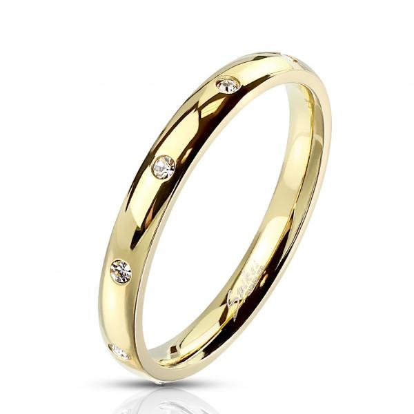 Ring 10 Kristalle Gold Edelstahl
