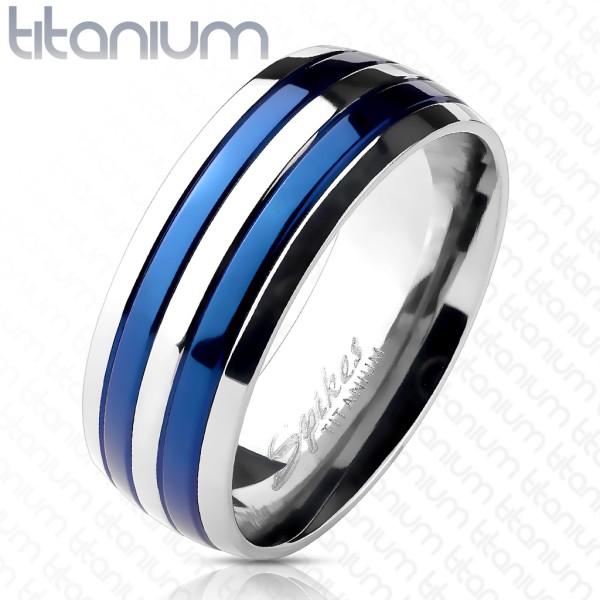 Ring silber blau Titan