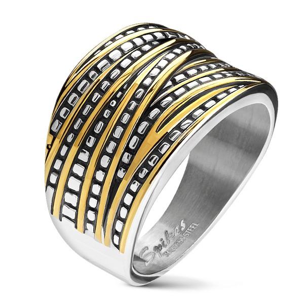 Ring gold silber zweitönig überlappende Bänder Edelstahl