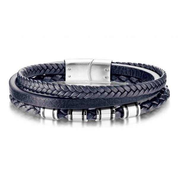 Betse Qualität, mehrfach Bänder aus Blauem Mikrofaser Leder und rostfreiem Stahl, Unisex Armband