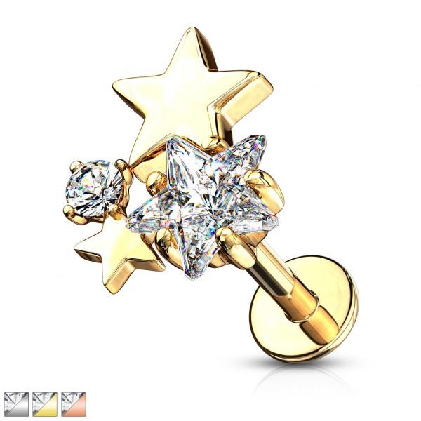 Sterne aus Kristall Innengewinde für Labret Monroe Ohrpiercing