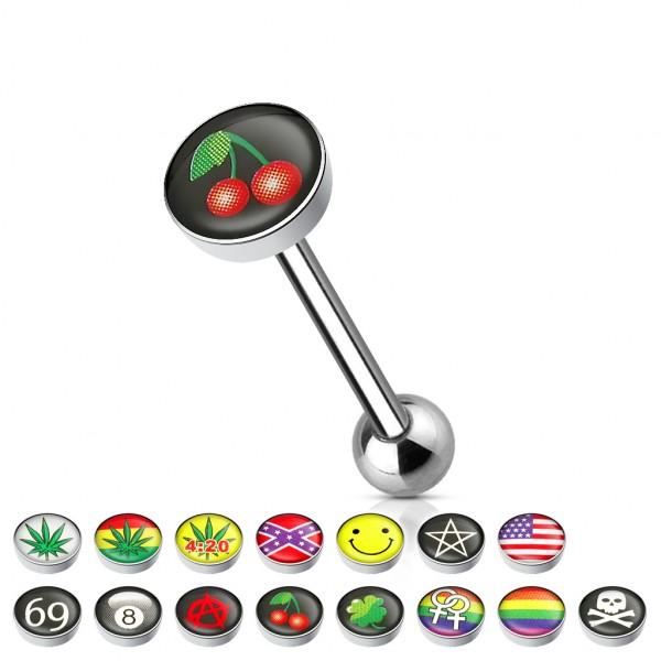 Zungenpiercing mit Logo