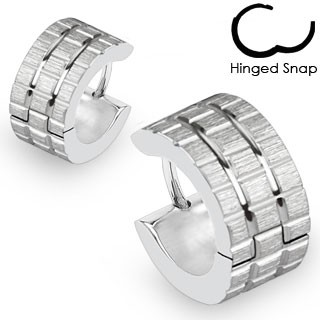 ein Paar Chirurgenstahl - Ohrring mit mattes Stahl Rillen Quadrat Muster