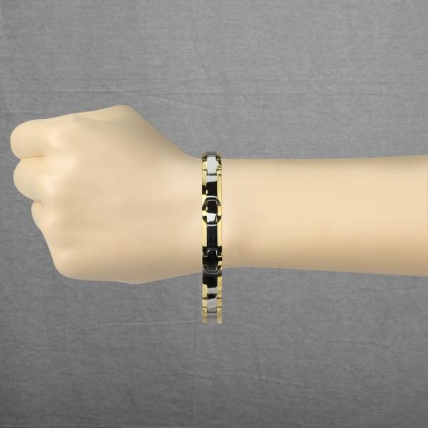 Viereck Gold plattiert Rand - Wolfram Karbid Kettenglied Armband