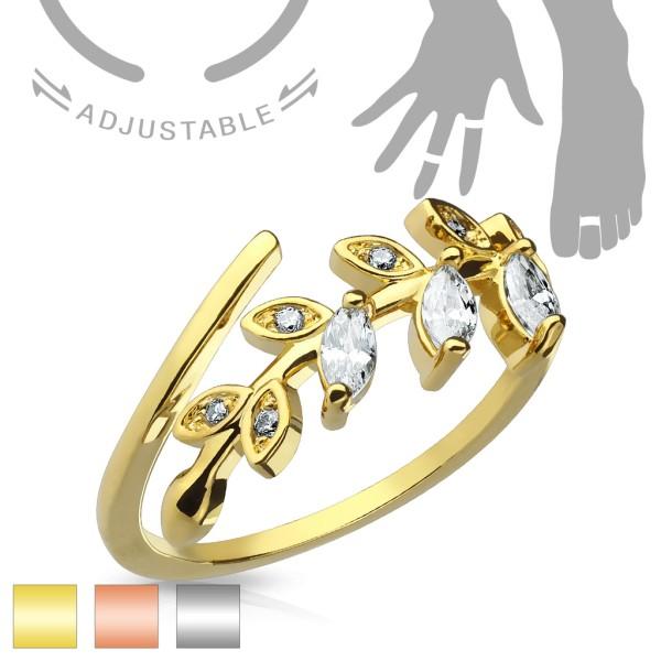 Blatt Kristall Gold Ring verstellbar Handring/Fußring