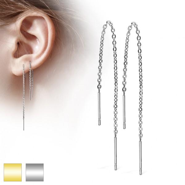 Ohrringe Ohrstecker Paar hängende Kette Silber 3mm Ball Stahl
