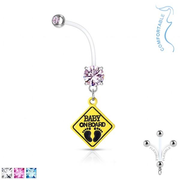 runder Kristall mit Baby on Board Zeichen hängend Schwangerschafts- Bauchnabelpiercing Bioflex