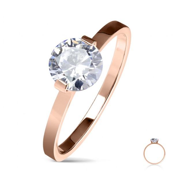 Ring rosegold Kristall Verlobungsring Edelstahl