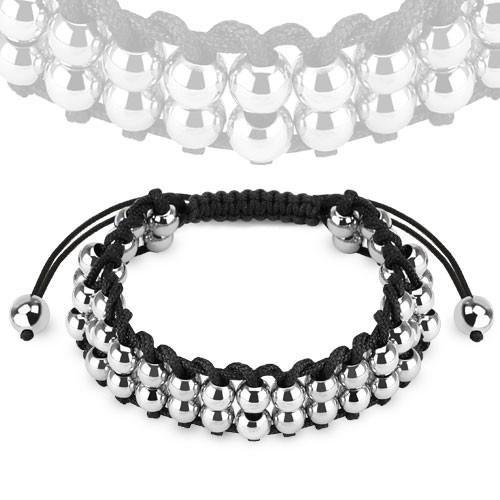 Armband mit Doppel geschichtet Edelstahl Metall Perlen