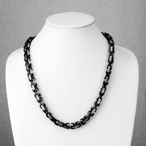 Schwarz plattiert Klemme Betonung Ring 316L Chirurgenstahl Kette Halskette