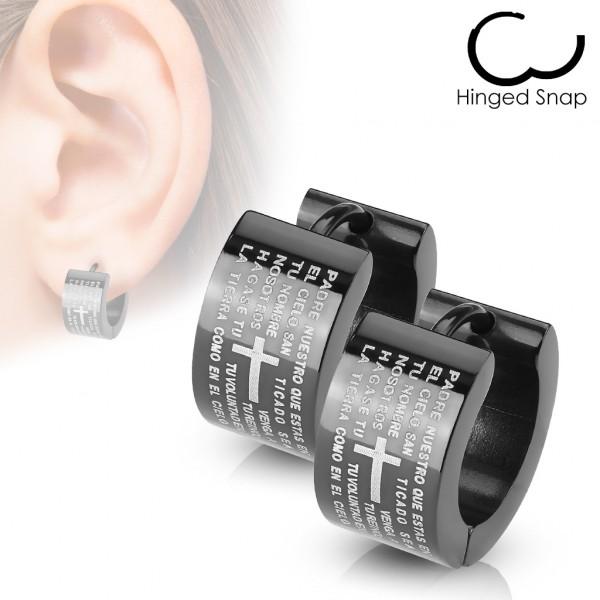 ein Paar Ring 316L Chirurgenstahl Schwarz Scharnier - Ohrring mit Vaterunser Padre Nuestro
