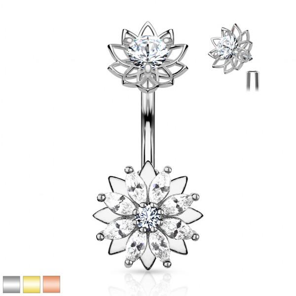 Marquise Kristall Blume mit Innnengewinde Bauchnabelpiercing