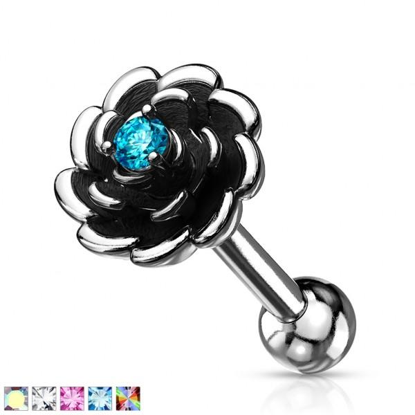 Blume mit Kristall in der Mitte Ohrpiercing Cartilage Hantel Barbell Tragus