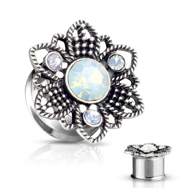 Opal Stein Blume vorne Double Flare Tunnel