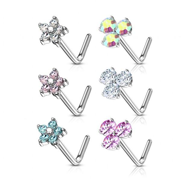 6 Stück Set Blume Nasenpiercing Nasenstecker Stab L Form Geschenk Piercing Verpackung