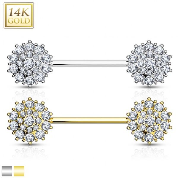 Nippelpiercing Blume Kristall Echtgold 14 Karat