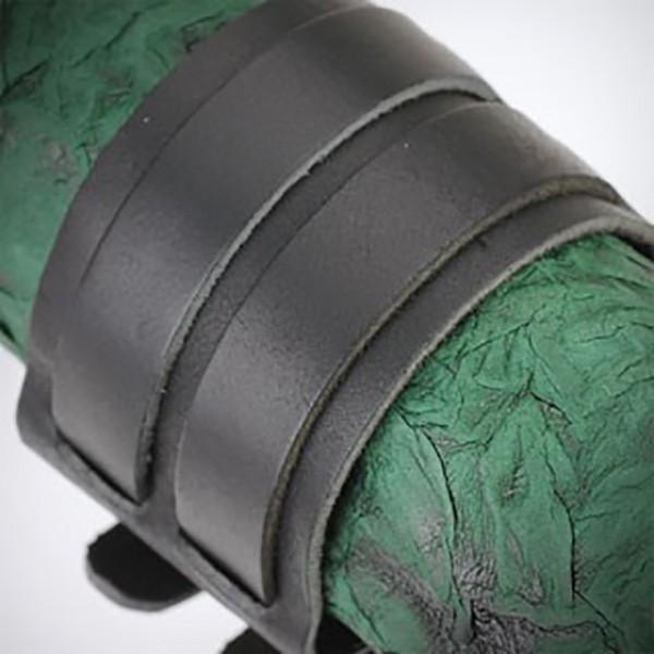 Doppel Gürtel Schnalle Lederarmband Armband Schwarz