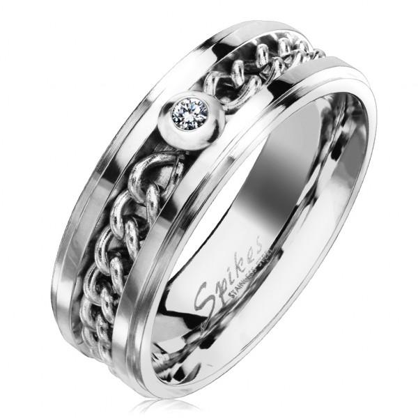 Kettenmuster Silber Ring Zirkonia Stahl