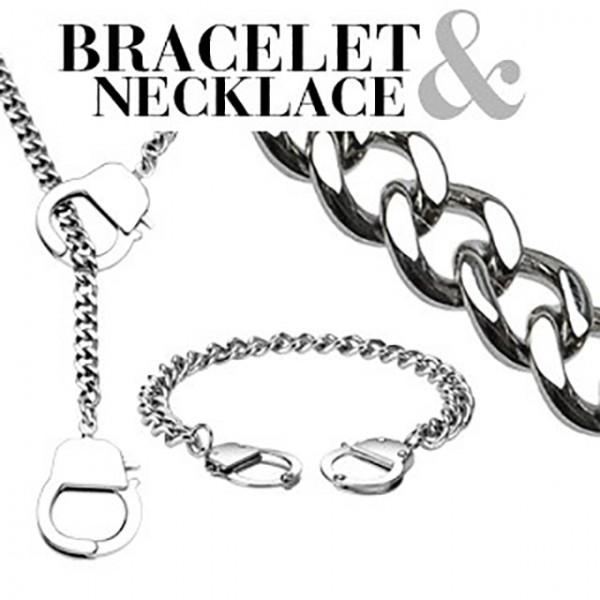 Kette Hand - Ring 316L Chirurgenstahl Armband & Halskette Combo Set
