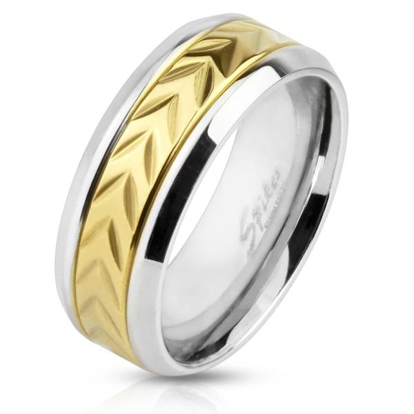 Ring Chevron Muster gold Edelstahl abgeschrägte Kanten
