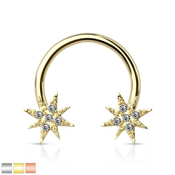Hufeisen Piercing mit Sternen an beiden Enden verziert mit Kristallenrundes Hantel Barbell