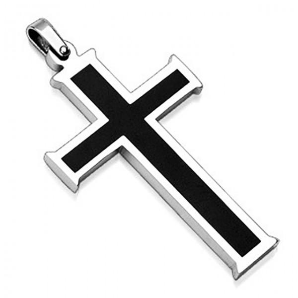 Kreuz Schwarz Anhänger 316L Stahl