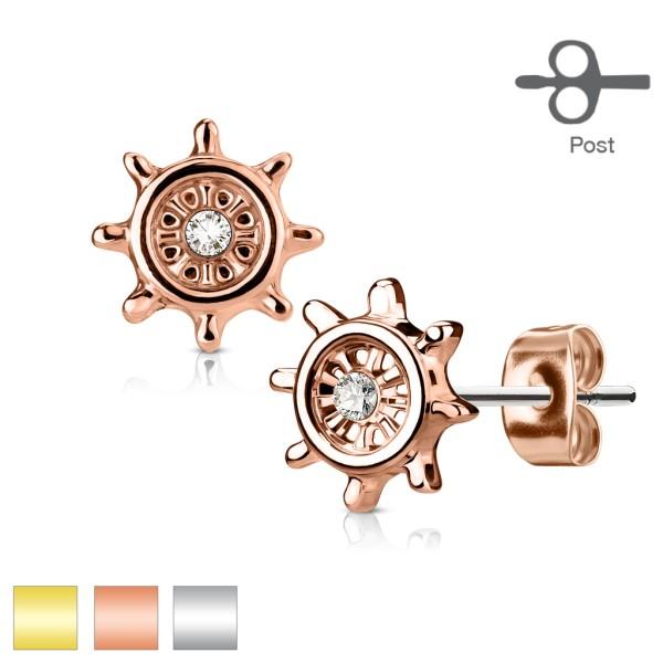 Ohrring Zirkonia Rad Gold 316L Ohrringe Stecker
