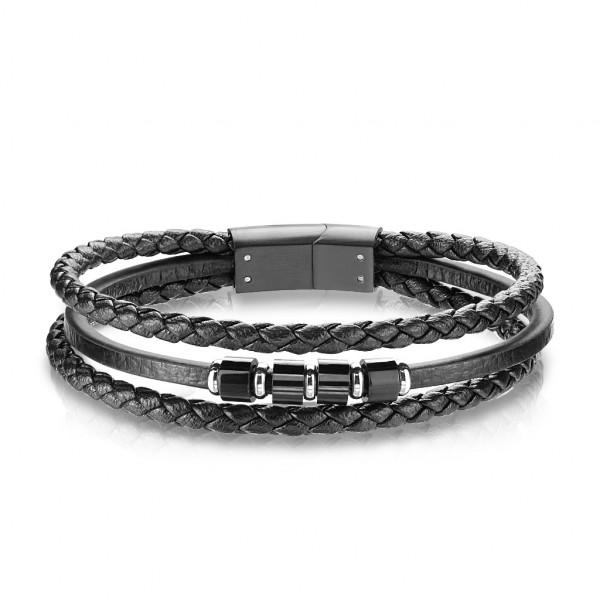 Beste Qualität, mehrfach Bänder aus schwarzem Mikrofaser Leder und rostfreiem Stahl, Unisex Armband