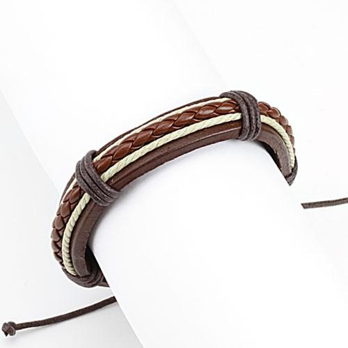 Geflochtenes Lederarmband Braun Knoten Verschluss