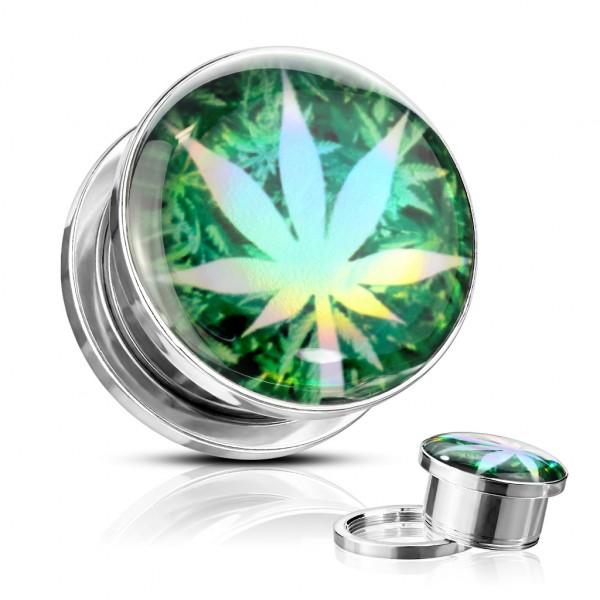 Marihuana Blatt Hologramm Screw fit Tunnel Plug