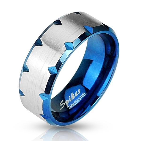 Ring Silber Blau Edelstahl