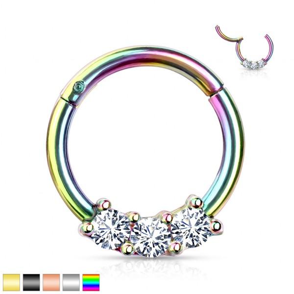 Zirkonia Segment Clicker 316L Hoop Ring Ohrpiercing Nasenpiercing