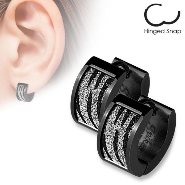 ein Paar Schwarz plattiert - Ring 316L Chirurgenstahl Ohr Ringe mit Quadrat Schwarz Zebra Sand Glitz