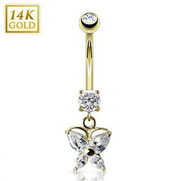 Schmetterling Zirkonia im Marquiseschliff Bauchnabelpiercing 14 Karat Gold