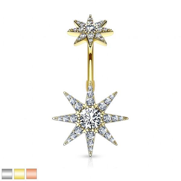 Kristall Sternexplosion mit Innengewinde Bauchnabelpiercing