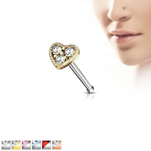 Kristall Herz Top Nasenpiercing