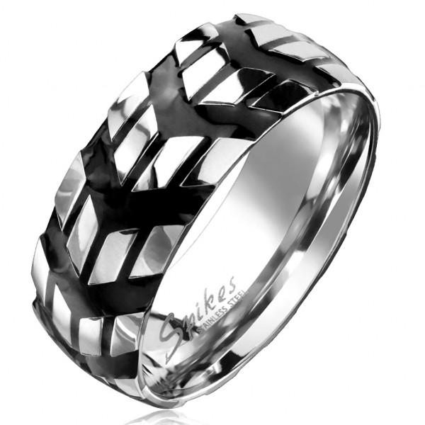 Ring Chevron Muster schwarz Silber Ring Edelstahl