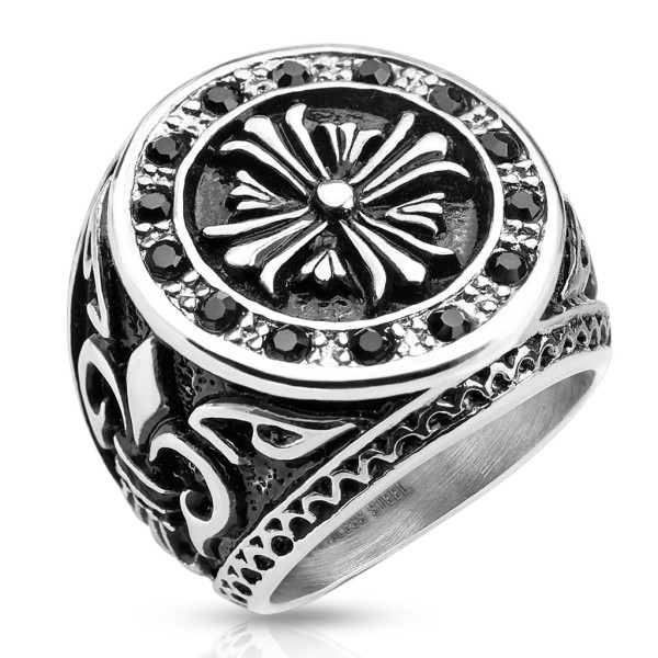 Ring Keltenkreuz Fleur De Lis Edelstahl