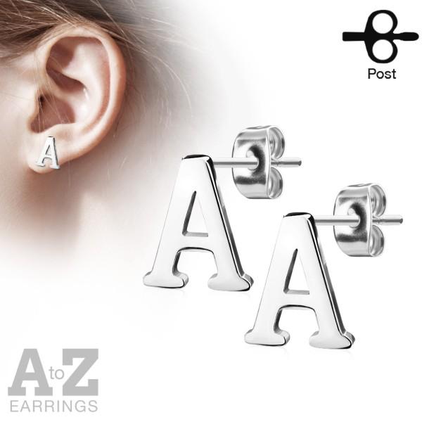 Ohrringe Ohrstecker Paar Buchstaben Alphabet Silber 316L Stahl