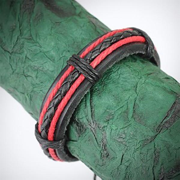 Geflochtenes Lederarmband Armband Schwarz & 2 rote flechten